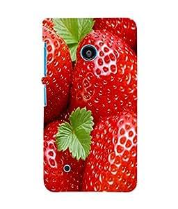 Fuson 3D Printed Strawberry Wallpaper Designer Back Case Cover for Nokia Lumia 530 - D810