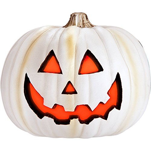 [White Molded Spooky Face Light Up Pumpkin Jack O Lantern Great for Indoor Halloween Decoration] (Homemade Character Costumes Ideas)
