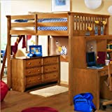 Full Lea My Place Wood Loft Bunk Bed in Maple Finish