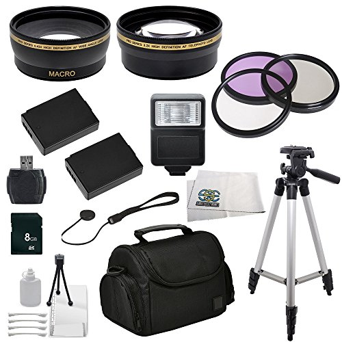 Canon Eos Rebel T3 (1100D), T5 (1200D) Slr Digital Accessory Package Including .43X Wide Angle Lens, 2.2X Telephoto Lens, 3 Piece Multi-Coated Filter Kit, 2 Replacement Lp-E10 Batteries, Slave Flash, 8Gb Sd Memory Card, Card Reader, Lens Cap Keeper, Carry