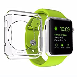 Apple Watch Case, LUVVITT CLARITY Apple Watch Case 38mm | with TEMPERED GLASS Screen Protector - Full Body Apple Watch Cover | TPU Flexible Rubber Case for Apple Watch / Sport / Edition - 38m Clear