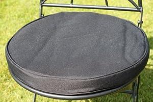 coussin pour mobilier de jardin coussin rond pour chaise de bistrot coloris noir. Black Bedroom Furniture Sets. Home Design Ideas