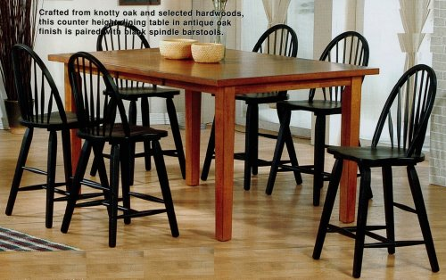 7pc oak wood counter height dining table black spindle bar stool set