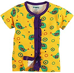 Snuggles Half Sleeve Front Open Jabla Sparrow Print - Spectra Yellow (0-3M)