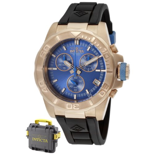 Invicta Men's 12158 Pro-Diver Chronograph Blue Dial Black Polyurethane Watch with Blue Impact Case