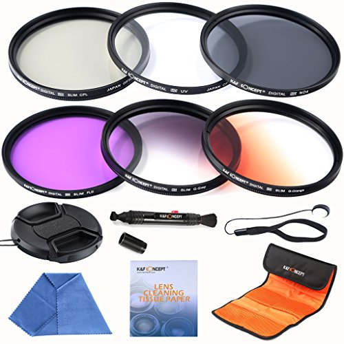 K&F Concept 52mm Lens Filter Kit Slim UV Slim CPL Circular Polarizing FLD ND4 Neutral Density Slim Graduated Color Orange Grey Filters For Nikon D3200 D5100 D3100 D5200 D3300 D5300 DSLR Camera with 18-55mm 200-400mm Lenses + Cleaning Pen + Cleaing Paper + Cleaning Cloth + Lens Cap + Cap Keeper + Filter Bag