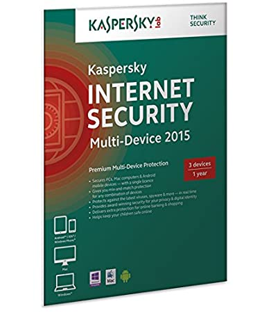 Kaspersky Internet Security 2015 Multi Device - 3 User - 1 Year Retail FFP Box UK (PC/Mac/Android)