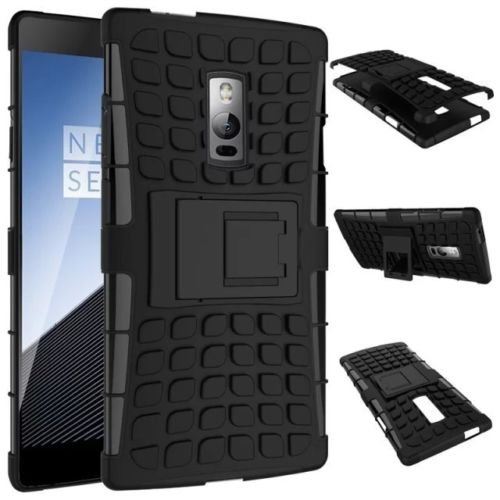 OKER Defender Series Dual Layer Hybrid TPU + PC Kickstand Case Cover for ONE PLUS TWO- BLACK