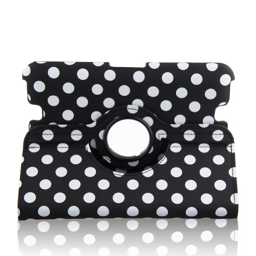 "Generic Pu Leather Luxury Stylish Slim-Fit Ultra Lightweight 360 Degrees Rotating Swivel Stand Polka Dot Pattern Design Series Smart Cover Case Skin Multi-Angle Viewing For Amazon Kindle Fire Hd 7"" Tablet (Only For 2012 Old Model) With Free Gifts - Black"