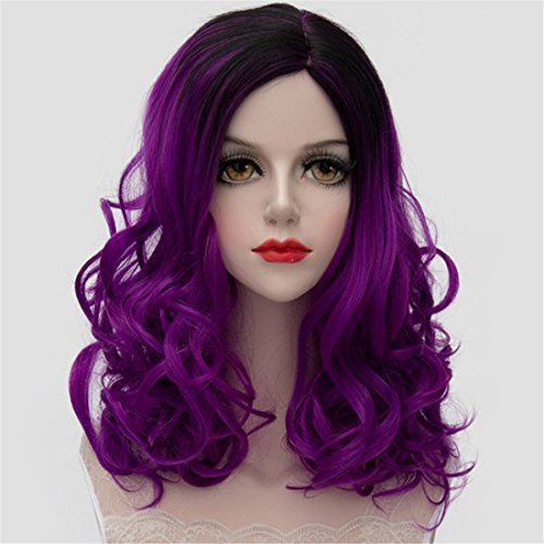 Wigs for Women Black Women Wigs Curly Wavy Wig Ombre Ramp Dresses for Party Wig Cosplay Short Wavy Wig Natural Vogue Hair Wigs for Women Medium Wigs Two Tones ( Gradient Purple )