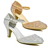 WOMENS LOW MID HEEL DIAMANTE ANKLE STRAP WEDDING DANCE PROM PARTY SHOES UK SIZE (SILVER, UK 5)
