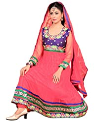 Surat Tex Light Pink Color Wedding Wear Embroidered Soft Net Stitched Anarkali
