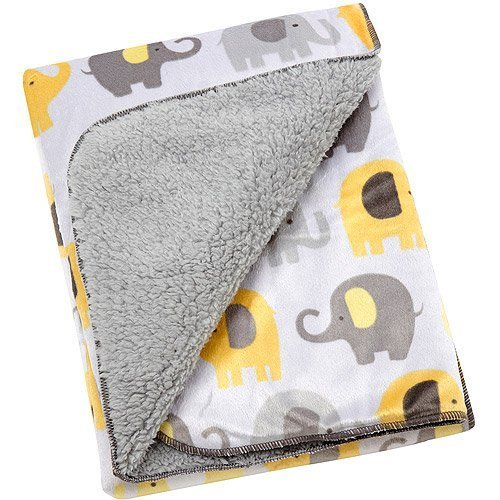 Little Bedding by NoJo Elephant Time Velboa Blanket, Yellow - 1