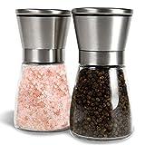 G Kitchen Premium Stainless Steel Salt & Pepper Grinder Set of 2-Pepper Mill and Salt Mill-Salt & Pepper Shaker-Ideal Gift-Spice Grinder with Adjustable Coarseness, Easy to Fill-Brushed Stainless