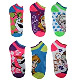 Disney Frozen Juniors/Womens' 6 Pack Ruffled Assorted No Show Socks