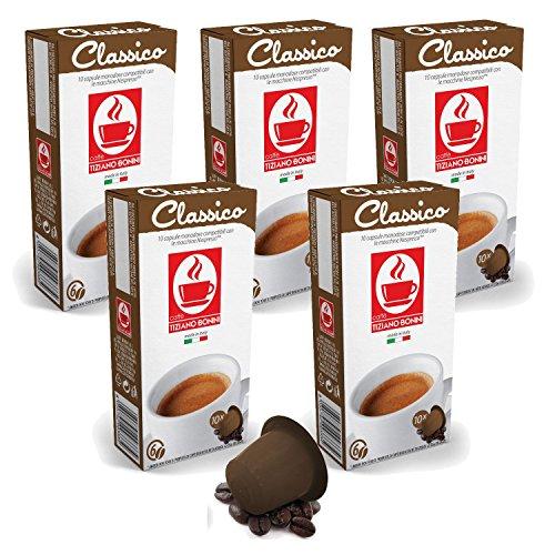 Find Bonini Coffee Capsules, Classico - Nespresso Compatible- 5-Pack (5x10 Capsules) from Caffè Tiziano Bonini