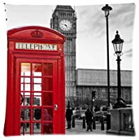london landmark red telephone booth Throw Pillow Case Cushion Covers Square 18x18 Inch (one side) by Red Telephone Booth Pillow Case