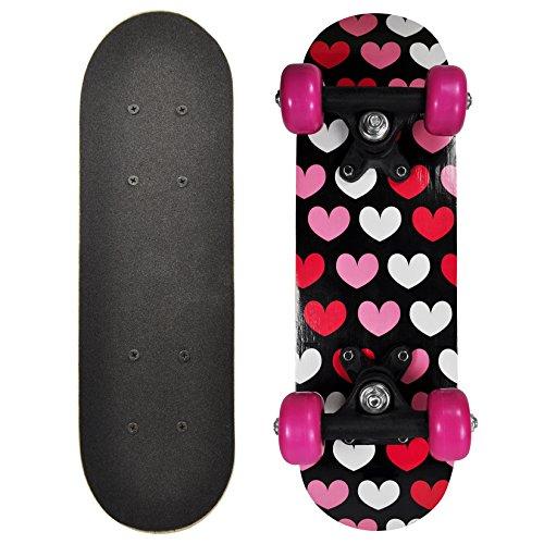 OC Girl 17 Inch Mini Skateboard Black - Pink Hearts Design (Deathwish Boards compare prices)