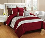 Bednlinens 12 Piece Maroon Bed in a Bag Emmerson Fancy Comforter with Sheet Set Burgundy/Off White