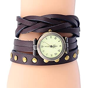 8Years(R) New Vintage Style Bronze Quartz Cool Twist Leather Rivet Bracelet Lady Woman Wrist Watch (Coffee)