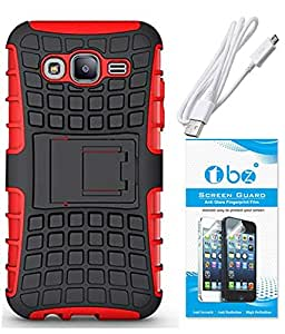 TBZ Hard Grip Rubberized Kickstand Back Cover Case for Samsung Galaxy On7 with Screen Guard and Data Cable -Red