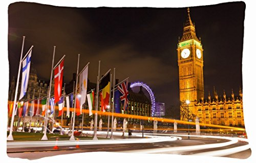 Microfiber Peach Queen Size Decorative Pillowcase -City London London England England United Kingdom Big Ben Big Ben Night Light Lights Road Flags front-772320