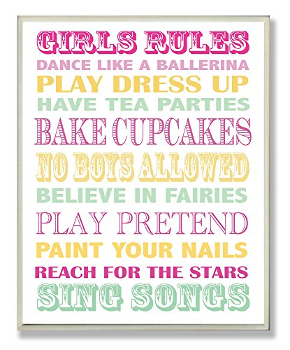 The Kids Room by Stupell Girls Rules Pink, Yellow, and Green Typography Rectangle Wall Plaque