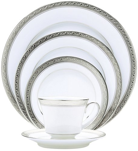 Noritake Crestwood Platinum 20-Piece Dinnerware Place Setting, Service for 4
