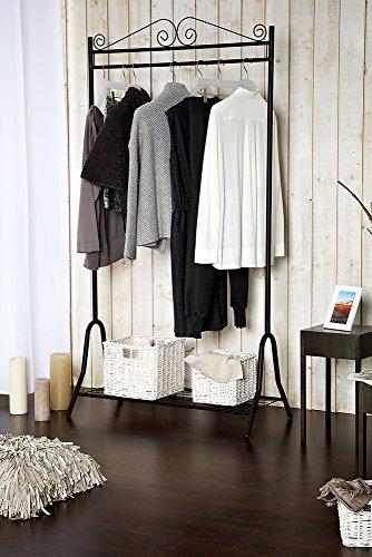 Garderobe-Metall-schwarz-46-x-90-x-172-cm-Stahlgestell-Schuhablage