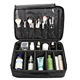 Professional Black Cosmetic Carrying Case / Makeup Travel Bag w/ Shoulder Strap & Adjustable Compartments