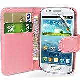 Babyrosa Supergets H�lle f�r das Samsung Galaxy S3 Mini I8190 Buchstil Klapptasche in Lederoptik mit Karteneinschub und Magnetverschlu� Etui Flip Case, Schutzfolie, Reinigungstuch