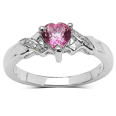 The Pink Topaz Ring Collection: Beautiful Sterling Silver Heart Shaped Pink Topaz Engagement Ring with Diamond Set Shoulders