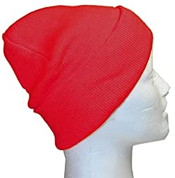 Slouchy Beanie Slouch Skull Hat Ski Hat Snowboard Hat Ribbed Beanie,One Size,Red