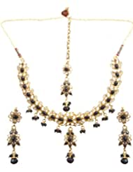 Exotic India Black Necklace Set With Mang Tika - Copper Alloy With Cut Glass