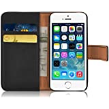 iPhone 5 Case - Retro Leather Wallet Flip Cover for the iPhone 5 and 5s, Black