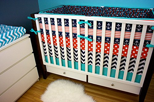 Modified Tot Crib Bedding, Ahoy Matey