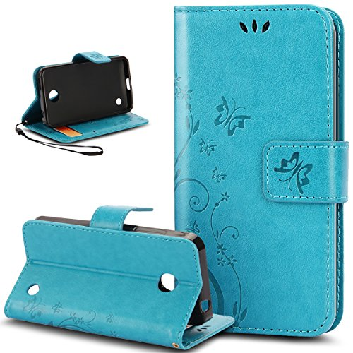 Custodia Nokia Lumia 635, Custodia Nokia Lumia 630, ikasus® Nokia Lumia 630 / 635 Custodia Cover [PU Leather] [Shock-Absorption] Protettiva Portafoglio Cover Custodia Sollievo Arts Farfalla Fiore Immagine con Super Sottile TPU Interno Case e Porta carte di credito Custodia Cover per Nokia Lumia 630 / 635, Cover Nokia Lumia 630 / 635, Cover Nokia Lumia 630,Cover Nokia Lumia 635 - Piccola Farfalla:Blu