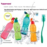 Tupperware Aquasafe Bottle With Fliptop 1L(set Of 4) With Tupperware Bottle Brush