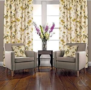 ORIENTAL CURTAINS Floral Heavy Half Panama Cotton Pencil Pleat Lined Curtain