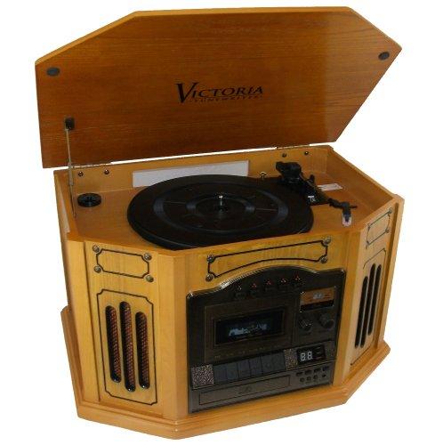 Grace Digital Audio GDI-TW3USBK Victoria Tunewriter III USB Recordable Turnatable, Cassette and CD Player (Oak)