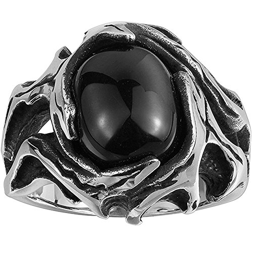 Men's 316L Stainless Steel Oval Agate Ring Band Vintage Fashion Gothic Tribal Punk Biker Silver Black