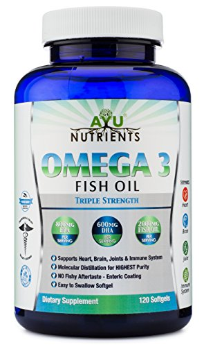Omega 3 Fish Oil |Triple Strength |100% Pure Sea Harvested Fish Oil - High EPA (800 mg) High DHA (600 mg) Soft Gels | Burp-less 120 Ct- Heart,Brain,Joint,Skin,Hair Health and Immune Support. (Extra Strength Mega Red compare prices)