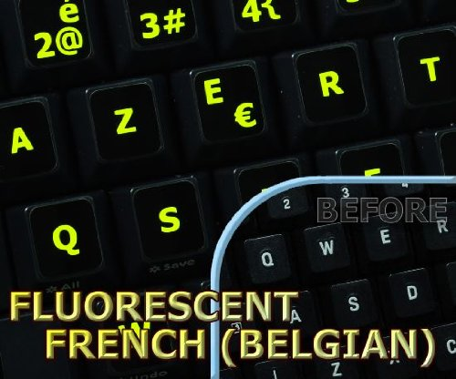 Glowing fluorescent French Blegian keyboard sticker on black background for notebook, desktop and laptop