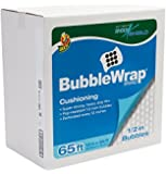 Duck Brand Bubble Wrap Shock Shield Cushioning with Dispenser Box, Extra Large Bubbles, 12 Inches x 65 Feet, Single Roll (862825)