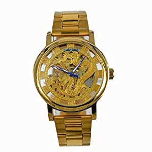 Gift In Box Gold Dragon Skeleton Dial Stainless Steel Strap Hand-Wind Mechanical Men's Watch G8110