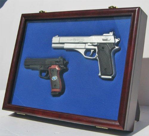Pistol Airsoft Gun / Handgun display case shadow box, Lockable glass door-GN01-MA (Hand Gun Display Case compare prices)