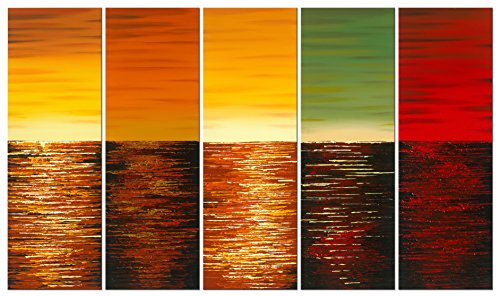 Wieco Art - Five Planets Modern Abstract 100% hand-painted Seascape Oil Paintings Artwork on Canvas Wall Art Decor 5 pcs/set II
