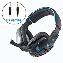 buy Rymemo 2016 Newest Wired 3.5Mm Stereo Led Lighting Over-Ear Game Gaming Bass Headphone Headset Headband Earphone With Mic For Ps4 Pc Computer Mac Laptop Smartphone Mobile Phones ( Blue-Black, Without Lighting On Ear-Cup )