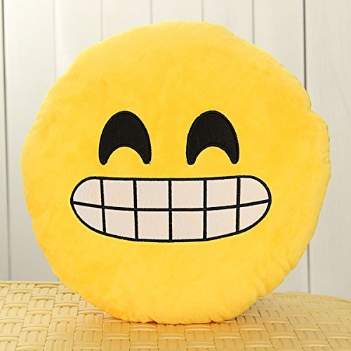 Review 32cm Emoji Smiley Emoticon Yellow Round Cushion Pillow Stuffed Plush Soft Toy