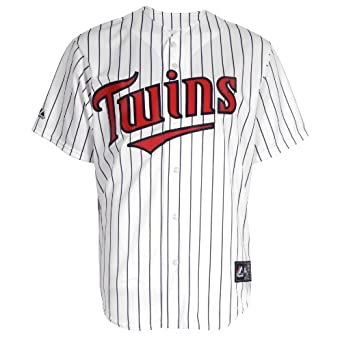 Buy MLB Minnesota Twins Francisco Liriano White Navy Home Short Sleeve 6 Button Synthetic Replica... by Majestic